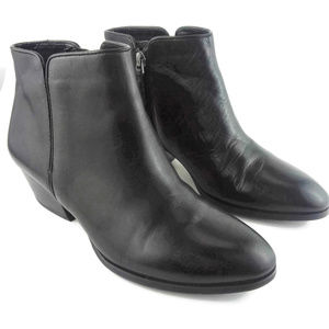 FRANCO SARTO Black Leather Side Zip Ankle Booties